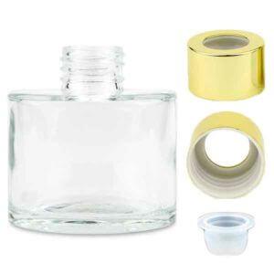 ハーバリウムディフューザー-ガラス瓶-ハーバリウムボトル-ディフューザー瓶-キャップ-ゴールド-中栓付き